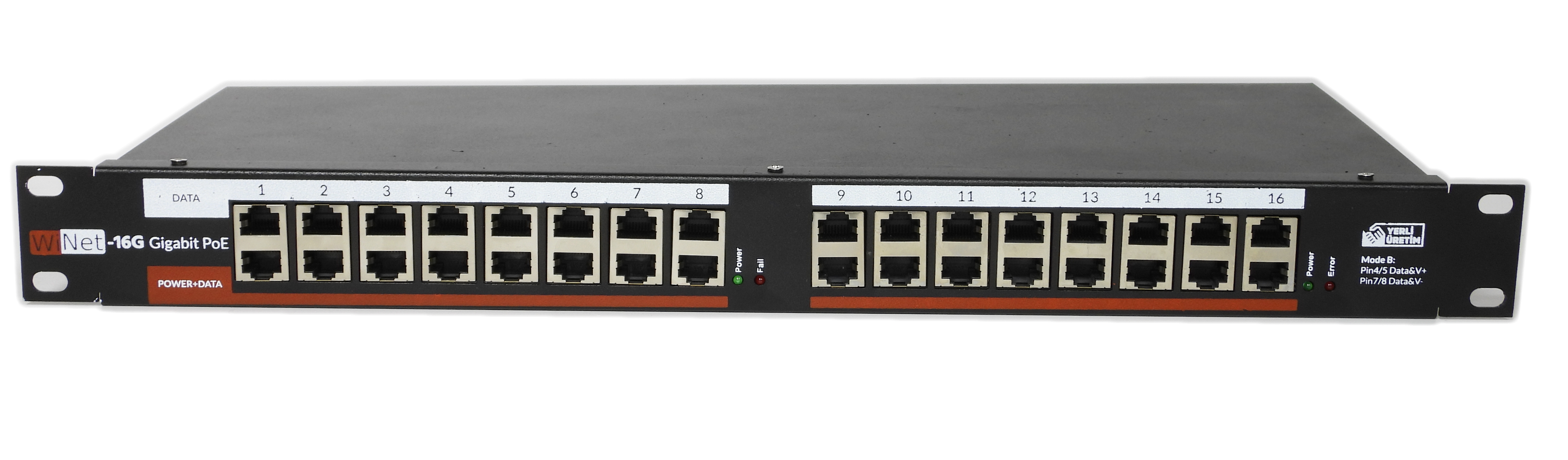 PANEL-16P-GB-24V WINET 16 PORT GIGABIT POE PANEL INJECTOR - 24V HAZIR MODEL