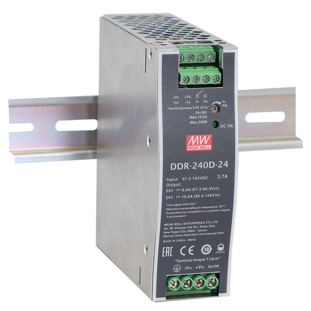 MW-DDR-240B-24 MEANWELL DDR-240B-24, INPUT 16.8-33.6DC - OUTPUT 24V - 10A - DIN RAIL