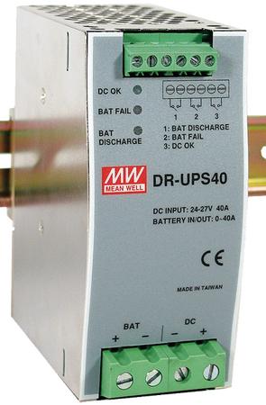 MW-DR-UPS40 MEANWELL DR-UPS40, 24-29VDC RAY TİPİ UPS MODÜL - ŞARJ-2A-