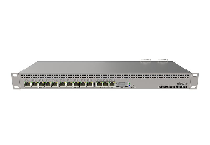 RB1100AHx4 Mikrotik RB1100AHx4, 13 Port Gbit LAN, RouterOS Level 6 , 1U Router / Firewall / Hotspot