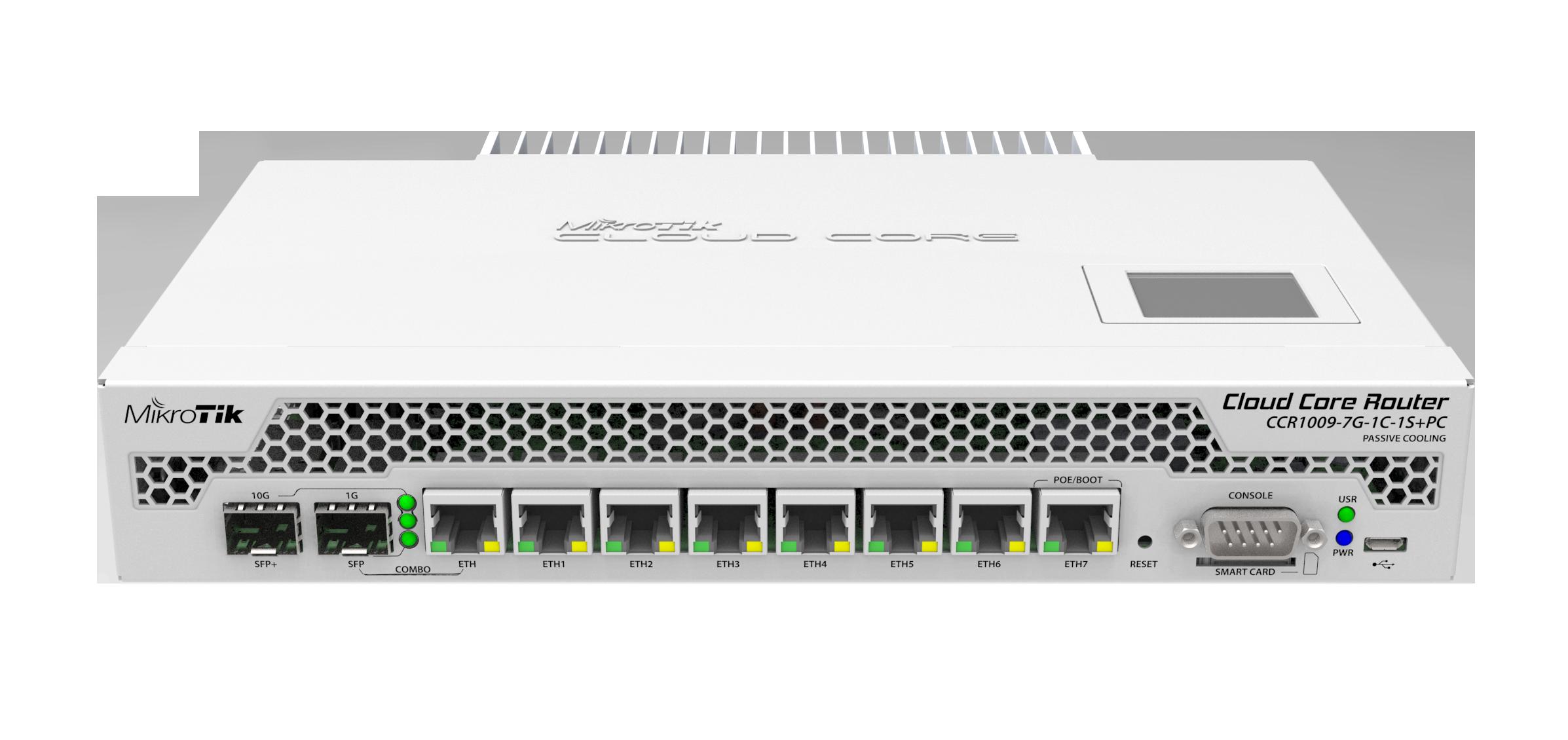 CCR1009-7G-1C-1SplusPC Cloud Core Router 1009-7G-1C-1S+PC 1x Combo Port, 7xGbit LAN , 1xSFP+ 10Gbit, LCD, L6
