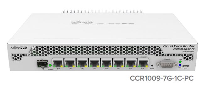 CCR1009-7G-1C-PC Cloud Core Router 1009-7G-1C-PC 1x Combo Port ,7xGbit LAN , 1xSFP+ 1Gbit , LCD, L6