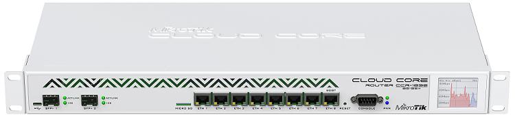 CCR1036-8G-2S-PLUS-EM Cloud Core Router 1036-8G-2S+EM 8GB RAM, 8xGbit LAN, 2xSFP+ 10 Gbit, LCD, L6 Firewall / Router