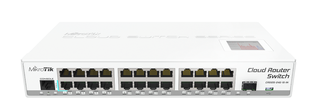 CRS125-24G-1S-IN Cloud Router Switch 125-24G-1S-IN 24xGbit Lan, 1xSFP, LCD ,L5