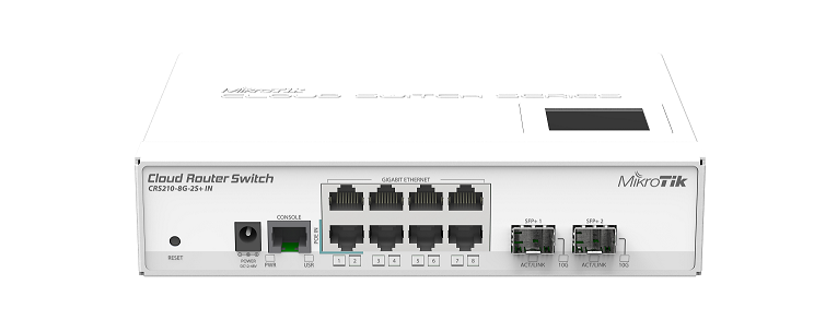 CRS210-8G-2S-IN-PLUS Cloud Router Switch 210-8G-2S+IN 8x Gbit Lan ,2xSFP+ 10Gbit ,Switch,LCD,L5