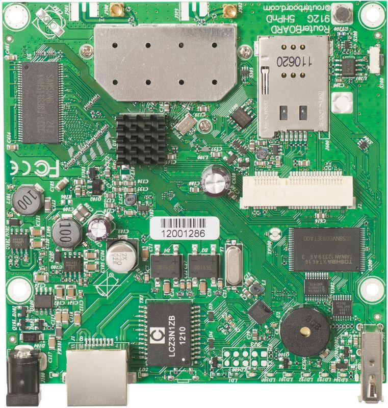 RB912UAG-5HPnD Mikrotik RB912UAG, 1xGbit LAN, USB, miniPCIe, 5Ghz 802.11a/n 2x2 Wifi, 2xMMCX conn, L4