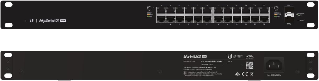 ES-24-500W Ubiquiti Edge Yön. Gigabit Switch POE+ 24x1Gbit Eth + 2x SFP 500 Watt