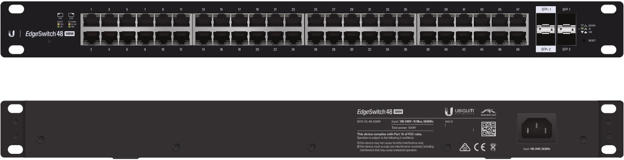 ES-48-500W Ubiquiti Edge Yön. Gigabit Switch POE+ 48x1Gbit Eth + 2x SFP + 2x SFP+ 500 Watt