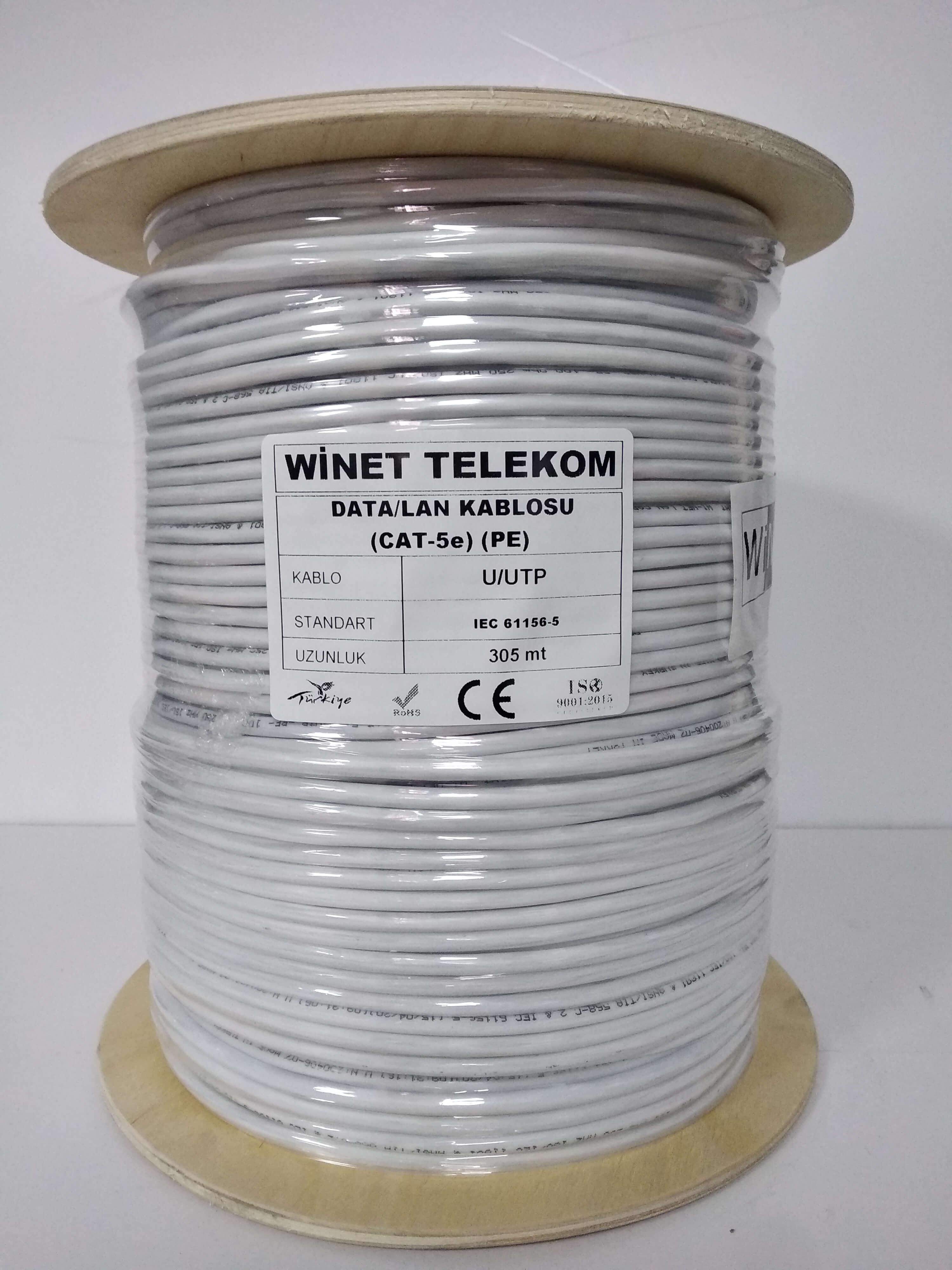 WINET-CAT5E-305 WINET CAT5E-PE - 305m 23AWG 0.52mm BEYAZ CAT5E - DIŞ ORTAM Kablo